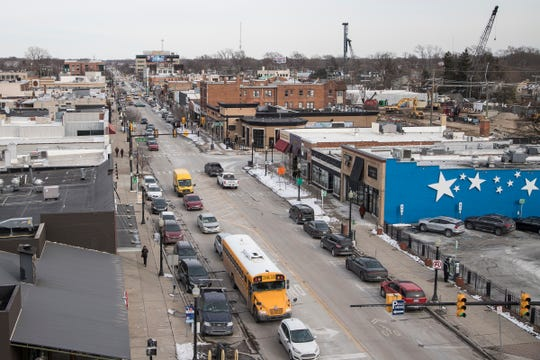 9 Mile Road in Ferndale from the roof of FerndaleHaus, Thursday, March 7, 2019.