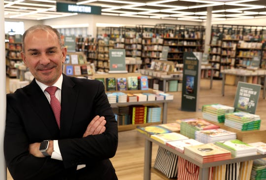 Frank Morabito, the Vice President of Stores at Barnes & Noble inside the new and different looking store at The Village of Rochester Hills in Rochester Hills, Michigan on Tuesday, March 26, 2019.The 14,000 square foot store has a more wide open floor plan with lower profile bookshelves and more area for children's books.