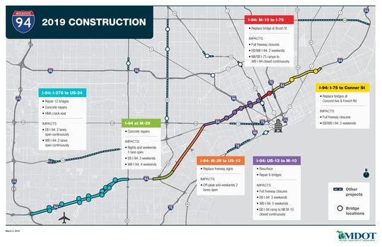 Mdot Construction Map MDOT: I 94 road construction expected tie up downtown, airport traffic