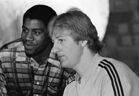 Earvin Johnson of Michigan State, left, and Larry Bird of Indiana State are shown Sunday, March 26, 1979 in Salt Lake City, Utah where their teams are to play Monday night for the NCAA Basketball Championship. In their semi-final games, Johnson shot 29 points for Michigan State while Bird zipped in 35 points for ISU.