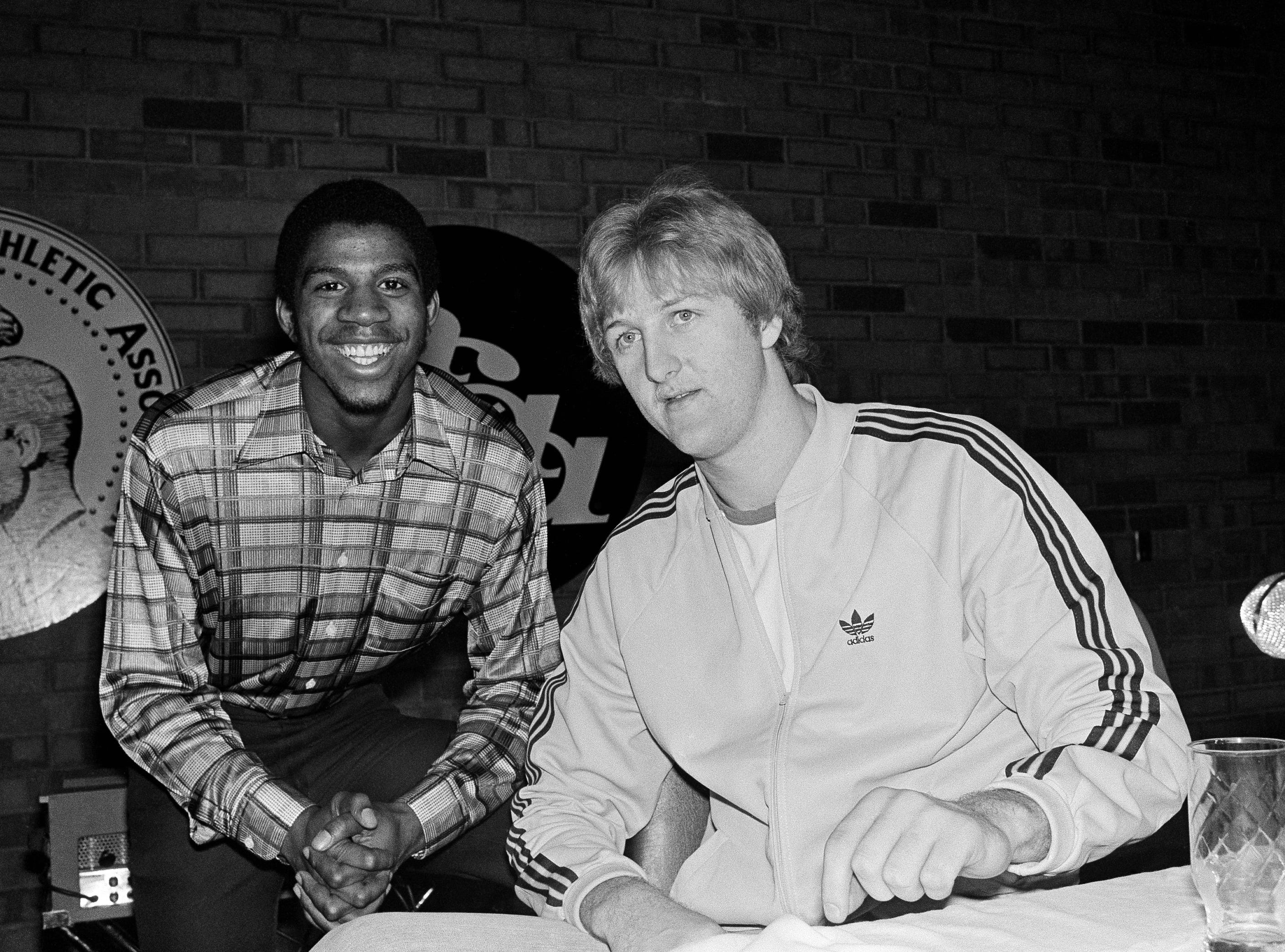 In this March 25, 1979 file photo, Magic Johnson, left, of Michigan State, and Larry Bird of Indiana State are shown during a news conference for the NCAA college basketball championships, in Salt Lake City. Showtime is about to have a whole new meaning for Magic Johnson. The story of his rivalry and friendship with Larry Bird has been made into a play, opening in New York in April.
