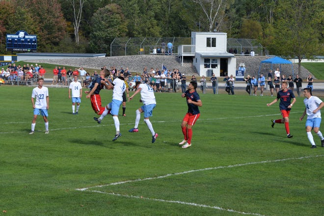 The Saginaw Valley State University men's soccer team competes in a recent game.