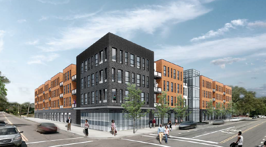 A rendering of a residential and retail project to be built at 8001 Kercheval Ave. in Detroit's West Village. The Michigan Economic Development Corp. is supporting the project led by community development financial institution Invest Detroit with a $3.5 million loan.