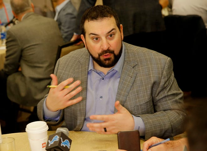 Detroit Lions head coach Matt Patricia speaks to the beat writers Tuesday.