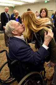 Oakland County Executive L. Brooks Patterson kisses his daughter Mary Warner at the conclusion of a press conference on Tuesday, Mar. 26, 2019 at the L. Brooks Patterson Building in Waterford, Michigan. Patterson announced he will not run for an eighth term as Oakland County Executive, due to being diagnosed with Stage 4 Pancreatic Cancer.