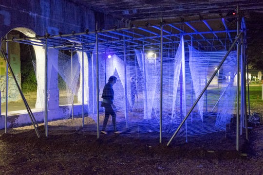 """Lasermaze"" by George King Architects was located in Detroit's Dequindre Cut during the 2015 Detroit Design Festival."