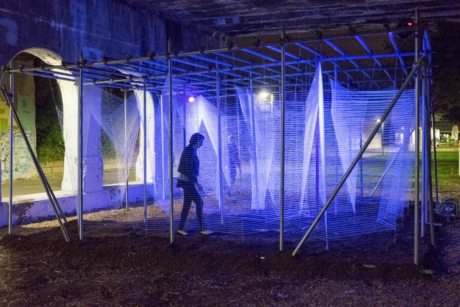 """""""Lasermaze"""" by George King Architects was located in Detroit's Dequindre Cut during the 2015 Detroit Design Festival."""