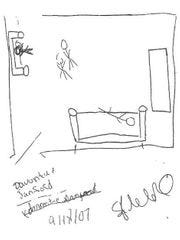 A sketch of a 2007 Detroit crime scene, which then-Detroit police official James Tolbert said was drawn by 14-year-old Davontae Sanford, but which Tolbert later said he'd drawn, prompting state police to seek perjury charges, although prosecutors declined to charge Tolbert after the statute of limitations ran out.
