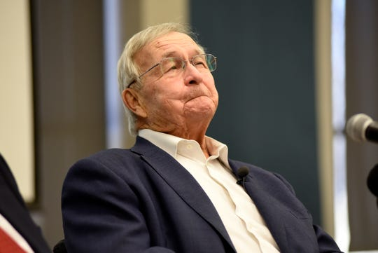 Oakland County Executive L. Brooks Patterson holds back tears as he announces he will not run for an eighth term as Oakland County Executive, due to being diagnosed with Stage 4 pancreatic cancer.