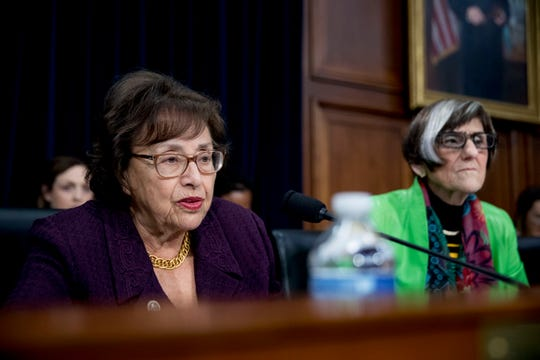 Chairwoman Nita Lowey, D-N.Y., left, accompanied by Rep. Rosa DeLauro, D-Conn., right, speaks as Education Secretary Betsy DeVos appears before a House Appropriations subcommittee hearing on the budget on Capitol Hill.