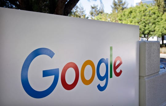 This Oct. 20, 2015, file photo, shows a sign outside Google headquarters in Mountain View, Calif.