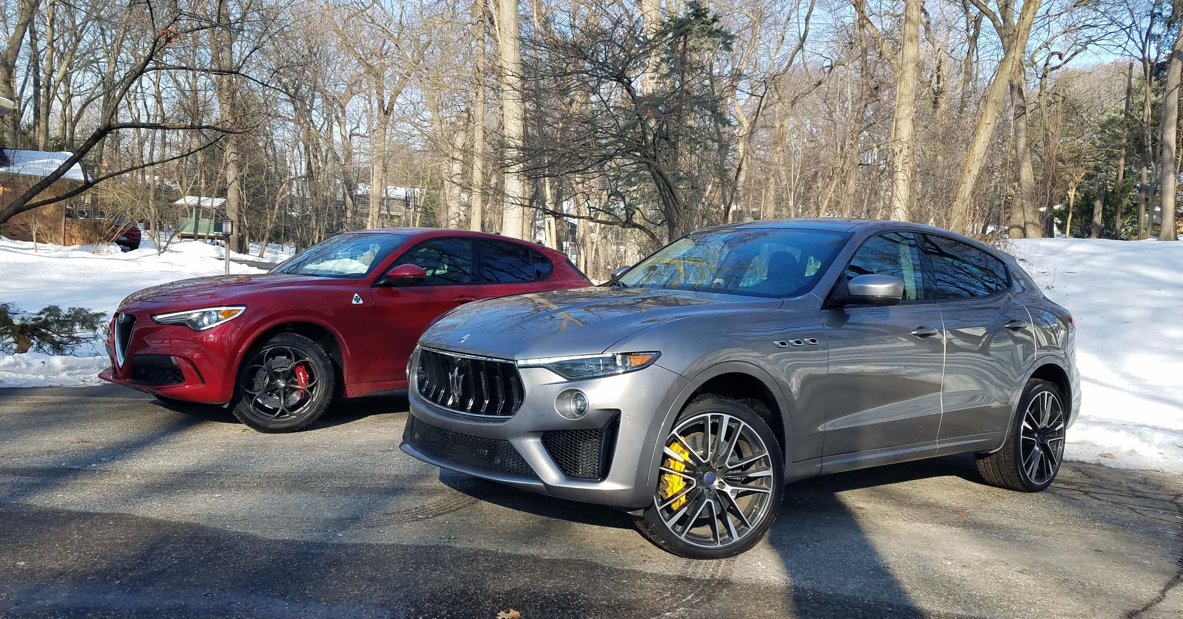 Italian stallions: The Alfa Romeo Stelvio Quadrifoglio (left) and Maserati Levante have become their brand's best-selling vehicles. But the Levante's big V-8 makes it feel more like an American muscle car than the fine-tuned Alfa.