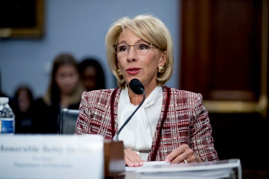 Education Secretary Betsy DeVos speaks during a House Appropriations subcommittee hearing on the budget on Capitol Hill Tuesday.