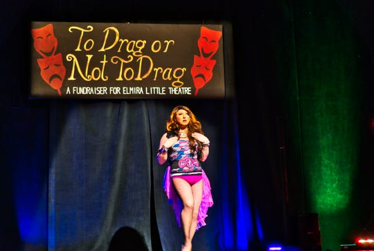 "Jezzika Jameson performs in Elmira Little Theatre's ""To Drag or Not to Drag"" fundraiser on April 20, 2018."