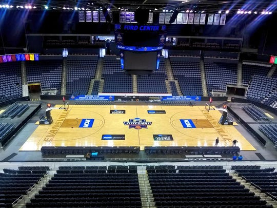 The court inside Ford Center for the NCAA Division II Elite Eight.