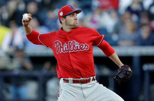 Philadelphia Phillies' Jerad Eickhoff pitches to the New York Yankees during the first inning of a spring training baseball game Friday in Tampa, Fla.