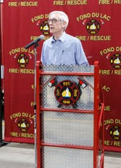 Wisconsin Governor Tony Evers talks about flooding in Wisconsin to Fond du Lac Fire/Rescue members, law enforcement and city leaders, Tuesday, March 26, 2019 at Fire Station One in Fond du Lac. Fond du Lac was hit hard with flooding March 14, after the Fond du Lac River flowed over it's banks due to ice jams and heavy rain and snow melt.