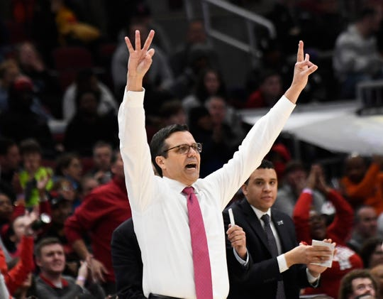 Mar 13, 2019; Chicago, IL, USA; Nebraska Cornhuskers head coach Tim Miles gestures to his team during the second half in the Big Ten conference tournament at United Center. Mandatory Credit: David Banks-USA TODAY Sports