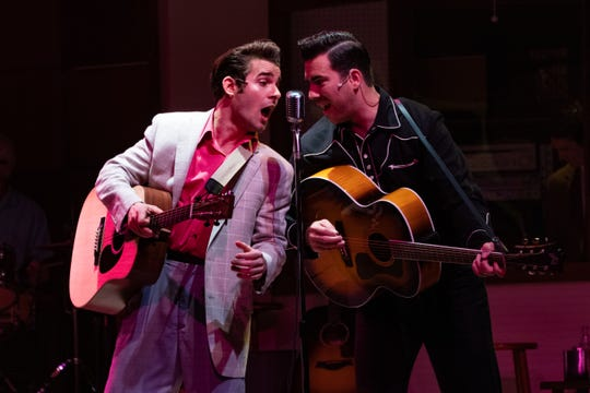 "Joe Boover and Gregg Hammer portray Elvis Presley and Johnny Cash in Florida Repertory Theatre's ""Million Dollar Quartet."""