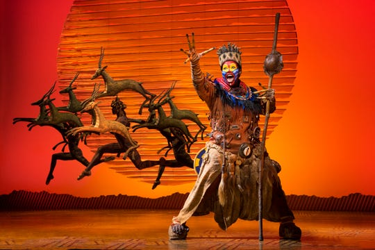 "Buyi  Zamaas plays Rafiki in the national tour of ""The Lion King."""
