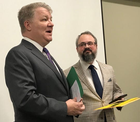 National Association for Gun Rights President Dudley Brown, left, and state Rep. Jonathon Hill of Anderson speak at a news conference Monday in Greenville.