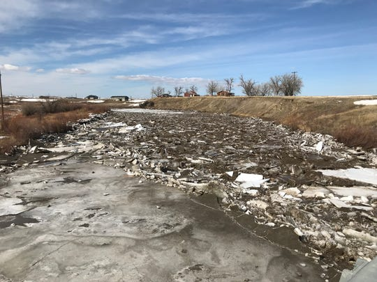 Ice jams on the Sun River in Cascade County Monday.