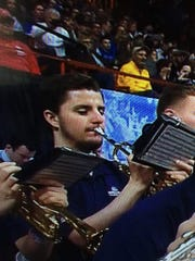 Tanner Rigor of Centerville plays trumpet in the Bulldog Pep Band at Gonzaga University.