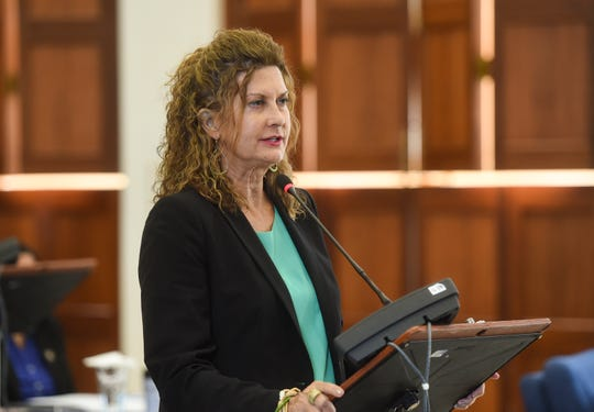 Sen. Kelly Marsh speaks during a session at the Guam Congress Building, March 26, 2019.