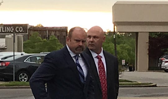 "Defendant Glenn ""Doyle"" Beach, right, enters William M. Colmer Federal Courthouse with attorney Brian Dickerson on Tuesday, March 26, 2019, in Hattiesburg."