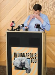 Indianapolis Zoo President Rob Shumaker holds an emotional press conference after two of the zoo's youngest elephants, Nyah and Kalina, died of endotheliotropic herpesvirus (EEHV), Tuesday, March 26, 2019.