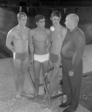 """Left to Right: Don McKenzie, Mark Spitz, Charlie Hickcox and James """"Doc"""" Counsilman in 1969."""