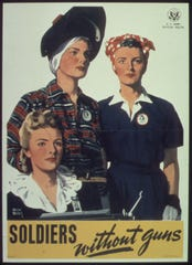 Soldiers without guns poster to encourage women to work in war production plants.