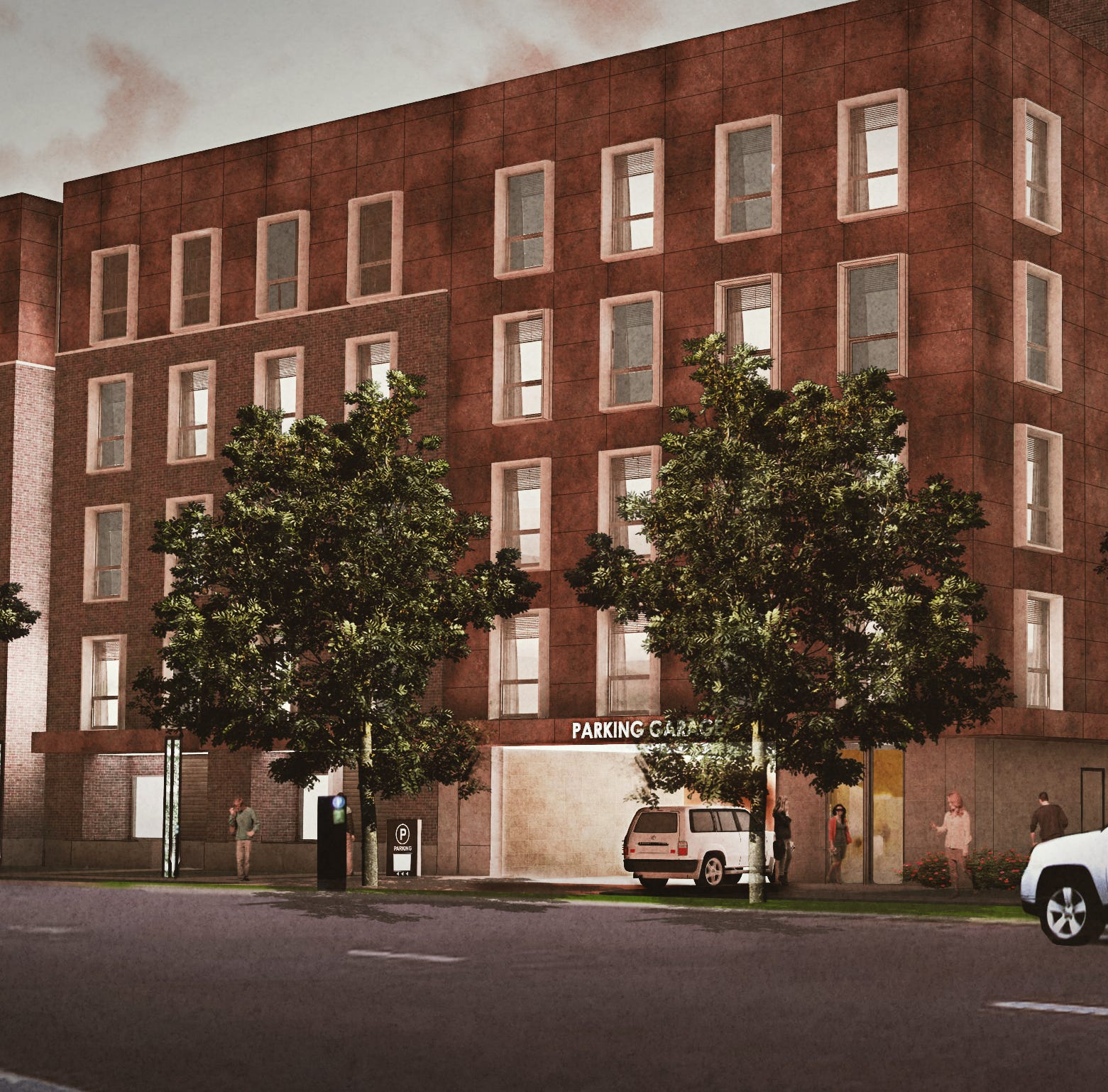 A parking garage hidden inside space-saving apartments might open next door to the Rathskeller