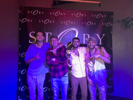 From left to right: Jacob Tanoos, Alec Tanoos, Aric Wisbey and Alex Wisbey. The two sets of brothers, all cousins, foiled an armed robber at a Florida gas station. The group is from Terre Haute, Indiana, and they were in Florida to celebrate Alec Tanoos' 21st birthday.