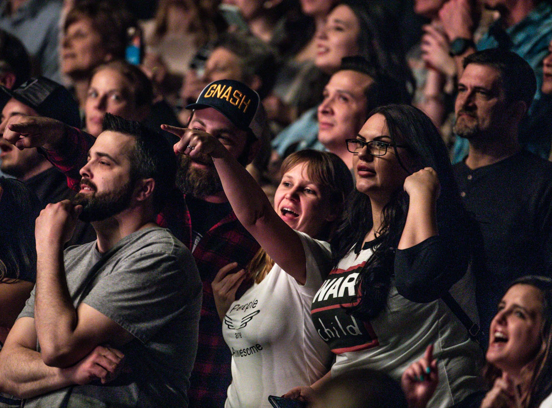 Fans sing and dance to the British band Mumford & Sons at Bankers Life Fieldhouse in Indianapolis on Monday, March 25, 2019.