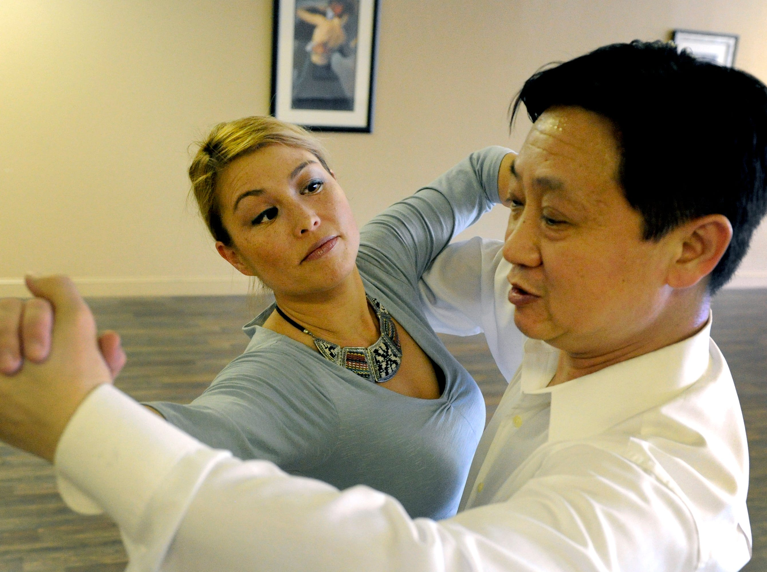 News Sentinel reporter Carly Harrington and Dance Tonight instructor Johnny Tang practicing for Dancing with the Stars for East Tennessee Children's Hospital Wednesday, Mar. 5, 2014. Rehearsal was at the Dance Tonight Knoxville studio in Western Plaza.