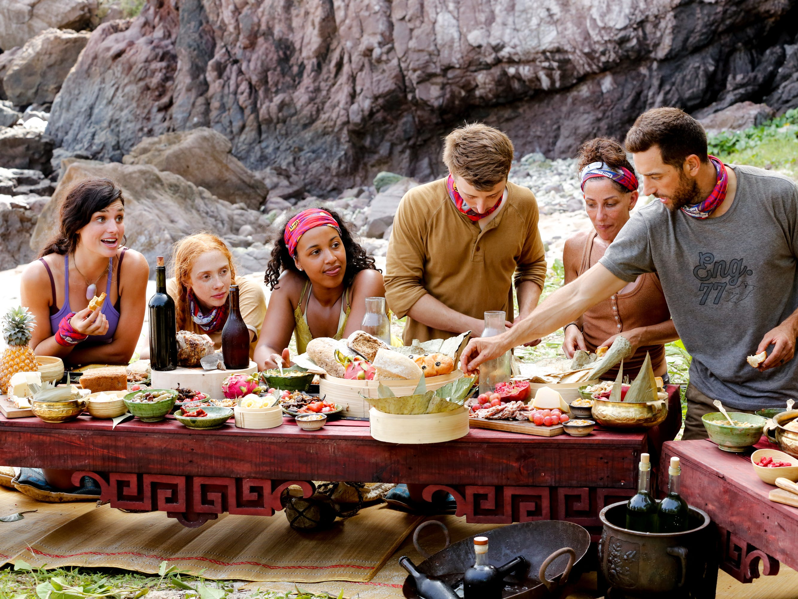 "From left are Lauren O'Connell, Victoria Baamonde, Julia Carter, Gavin Whitson, Julie Rosenberg, and Eric Hafemann on ""Survivor: Edge of Extinction."""