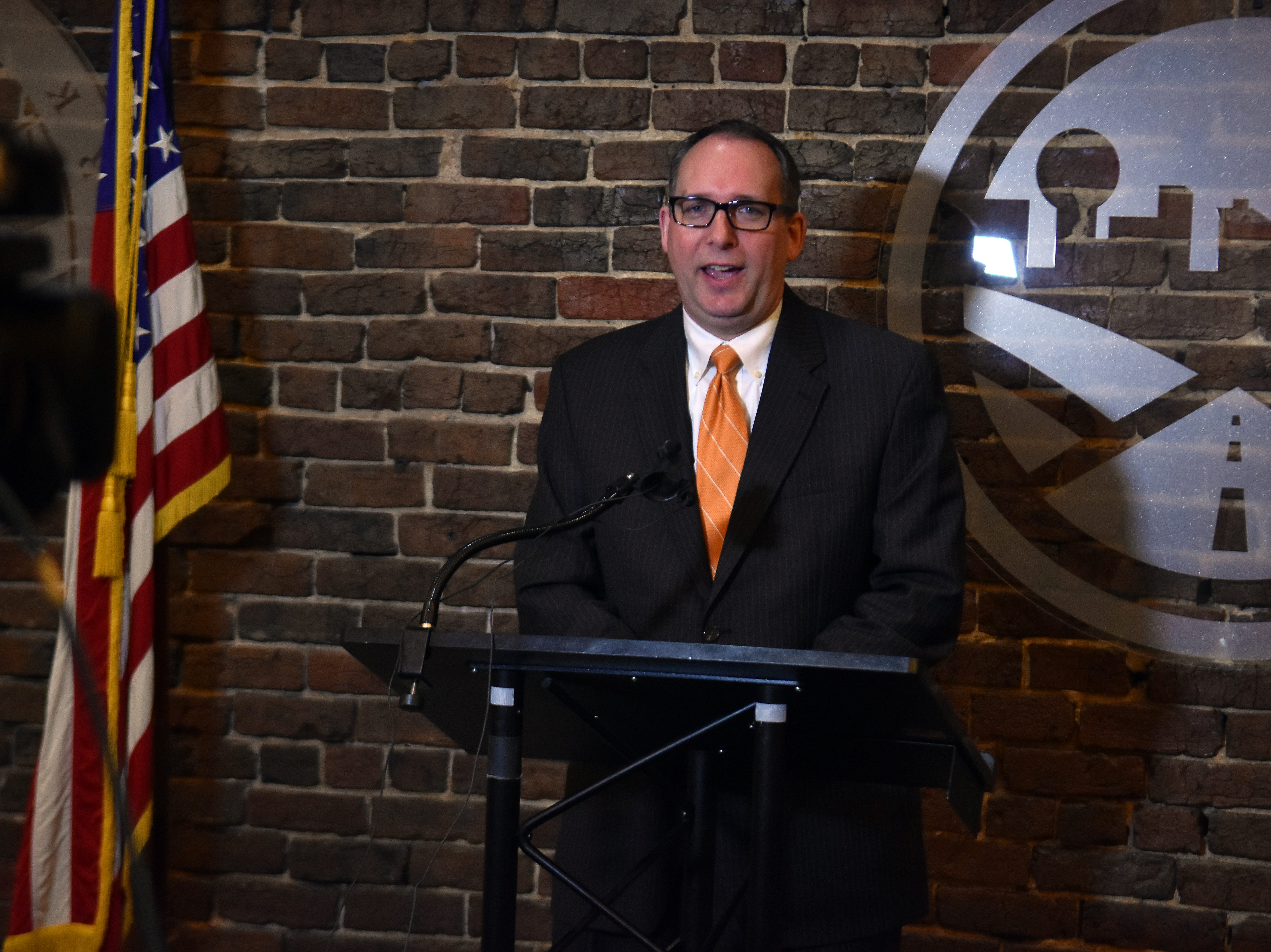 Mike Odom, new CEO of the Knoxville Chamber answers questions during a press conference on Tuesday, March 26.