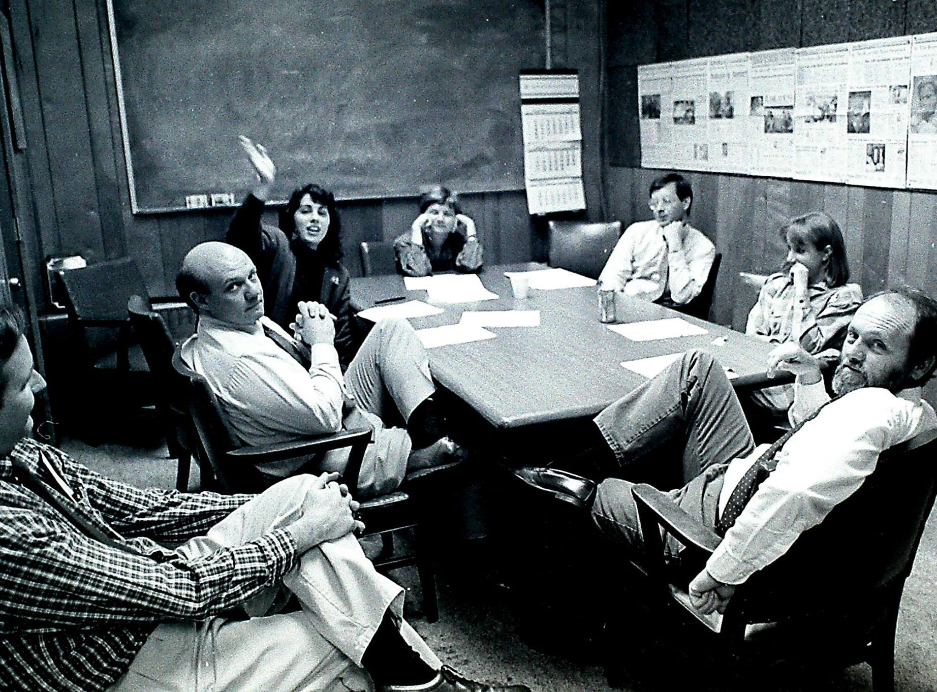News-Sentinel news meeting circa 1990 with Bob Norris, left, Vince Vawter, Sonya Doctorian, Linda Fields, Jack Lail, Amy Nolan and Frank Cagle.