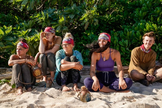 "From left are Julie Rosenberg, Victoria Baamonde, Kelly Wentworth, Lauren O'Connell and Gavin Whitson on ""Survivor: Edge of Extinction."""