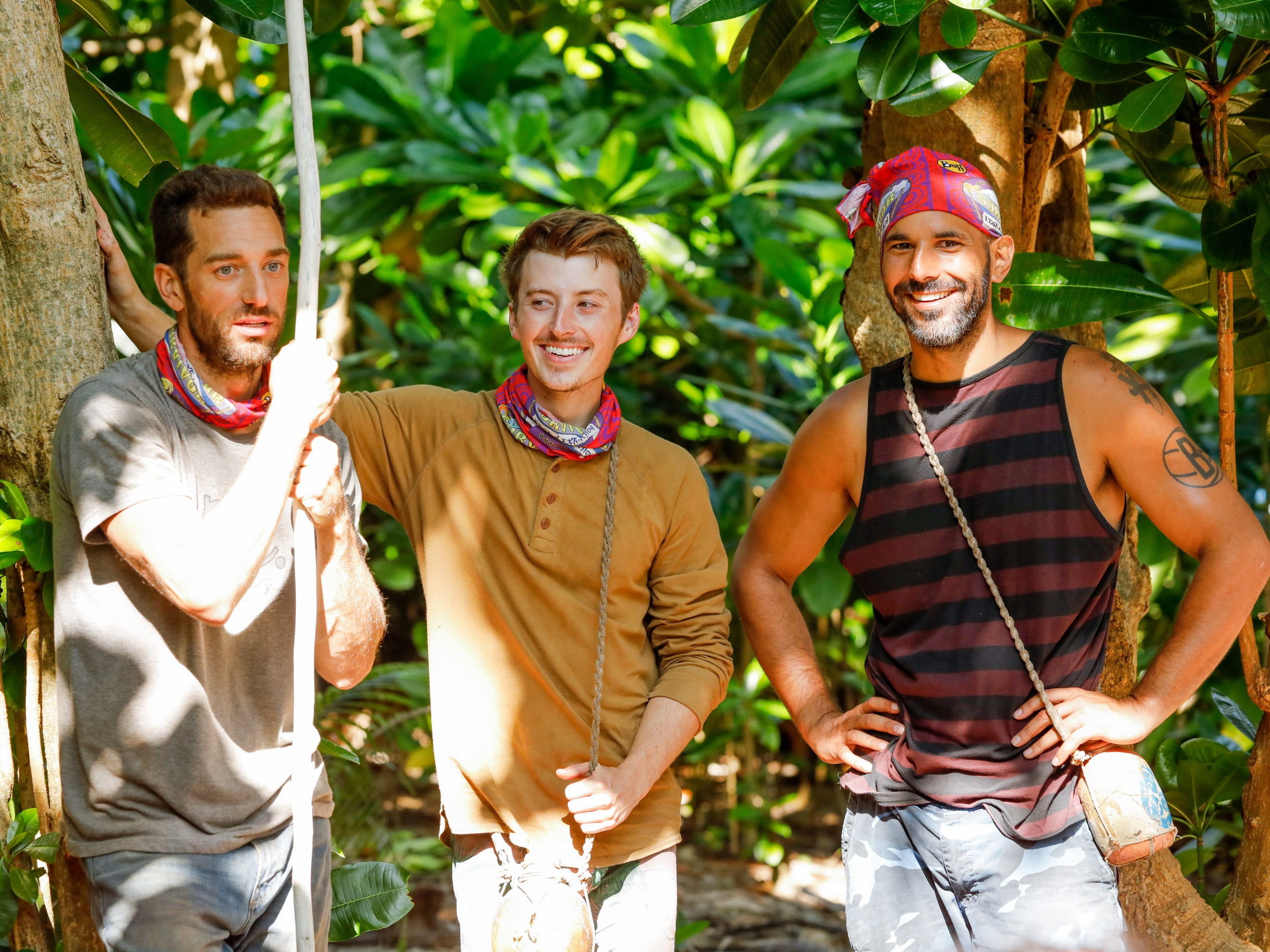"From left are Eric Hafemann, Gavin Whitson, and Dan ""Wardog"" Dasilva on ""Survivor: Edge of Extinction."""