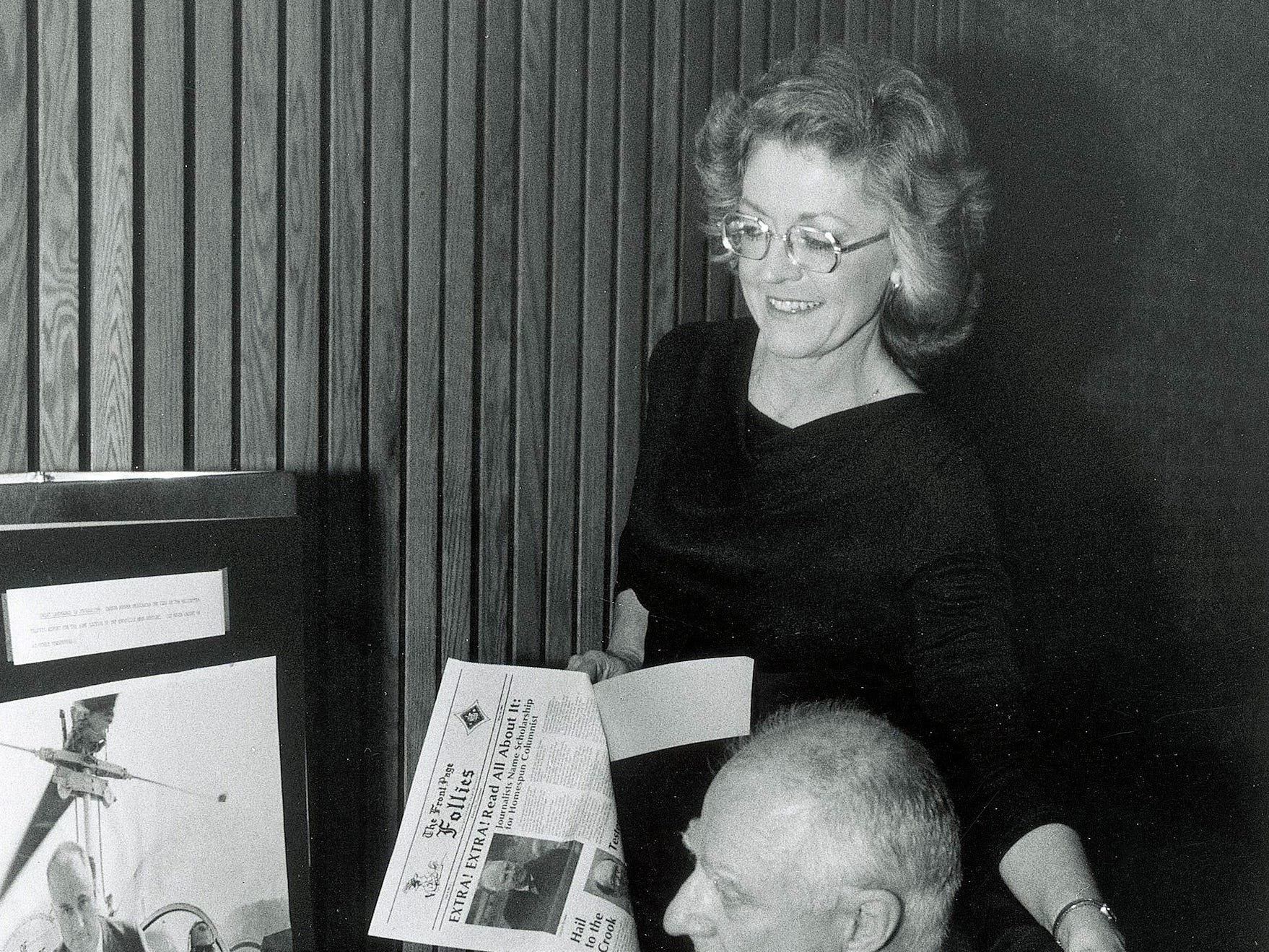 Knoxville News Sentinel staff writers Barbara Asbury and Carson Brewer promote the Front Page Follies May 19, 1984. Brewer passed away Jan. 15, 2003. Asbury died Jan. 2, 2011.