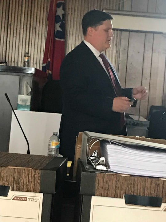Union County Assistant District Attorney General Tyler Hurst makes his opening statement in the second-degree murder trial of Shannon Smith on March 26, 2019.