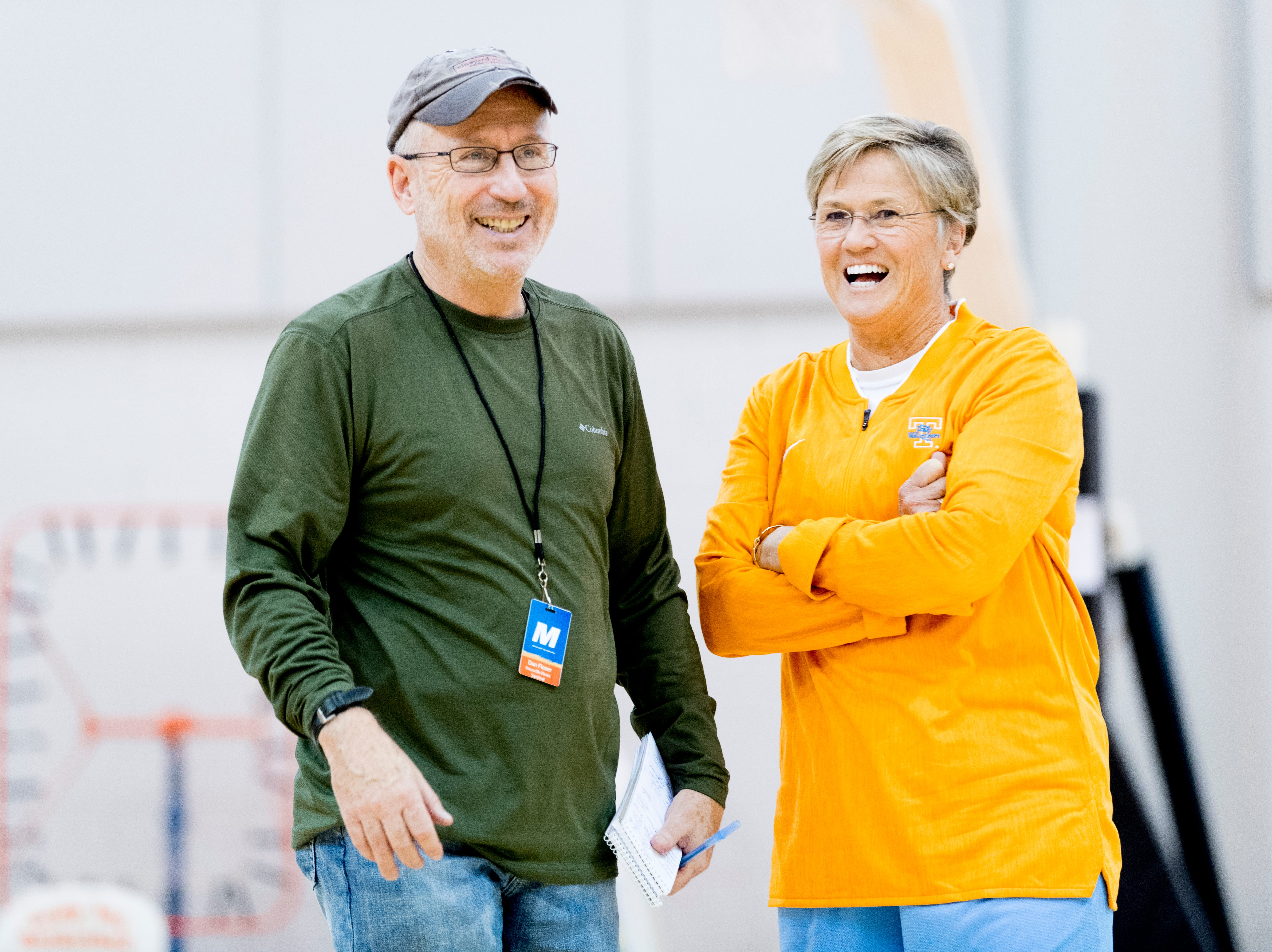 Knoxville News Sentinel reporter Dan Fleser shares a laugh with Tennessee Head Coach Holly Warlick during Tennessee Lady Vols Media Day at Pratt Pavilion in Knoxville, Tennessee on Thursday, October 25, 2018.