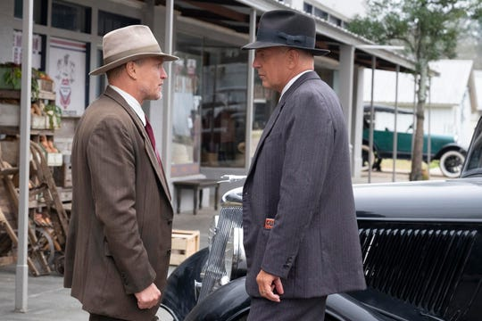 """""""The Highwaymen"""" stars Woody Harrelson and Kevin Costner, law enforcers brought in to track down notorious outlaws Bonnie Parker and Clyde Barrow."""