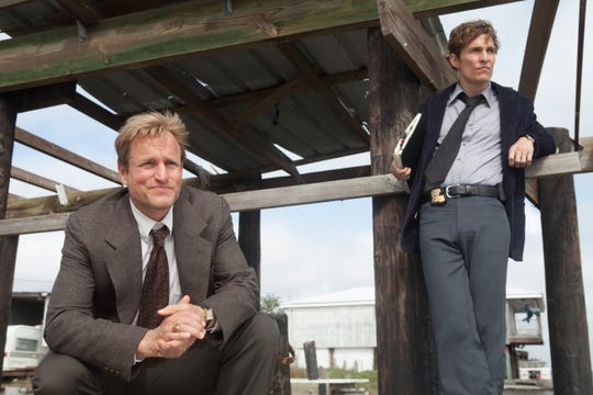 """Woody Harrelson, left, as Marty Hart and Matthew McConaughey as Rust Cohle in season one of """"True Detective,"""" which was filmed in Louisiana."""