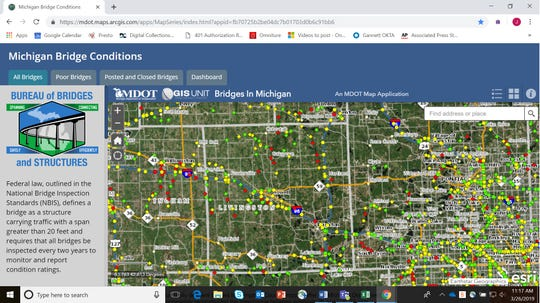 A screenshot of the Michigan Department of Transportation's new interactive map showing bridge conditions, taken Tuesday, March 26, 2019, shows 21 bridges in Livingston County marked red, which means they are in poor or worse condition.