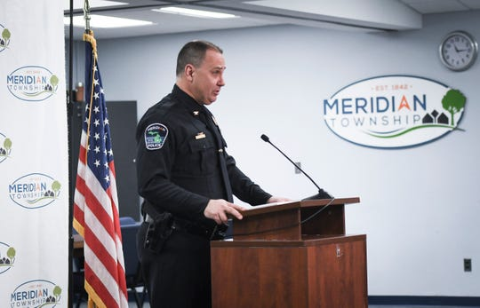 Meridian Township Chief of Police Ken Plaga speaks during a press conference Tuesday, March 26, 2019, after the department announced the end of their investigation on the  2004 complaint by Brianne Randall-Gay regarding abuse by Larry Nassar.  Randall-Gay was not in attendance, but submitted a written statement. \ [AP Photo/Matthew Dae Smith/Lansig State Journal]
