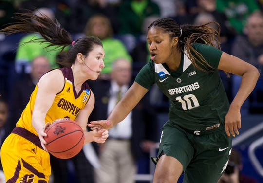 Central Michigan's Presley Hudson, left, gets pressure from Michigan State's Sidney Cooks (10) during a first-round game in the NCAA women's college basketball tournament in South Bend, Ind., Saturday, March 23, 2019. Michigan State won 88-87. (AP Photo/Robert Franklin)