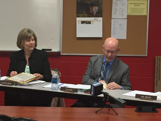 Shelby Superintendent Tim Tarvin talks about district Treasurer Libbie Anatra at her last board meeting Monday night.